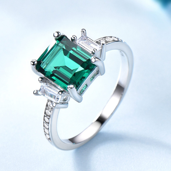 Green Emerald Art Deco Engagement Ring Silver Band
